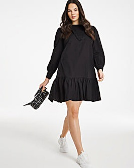 Black Shirred Detail Sustainable Cotton Poplin Dress