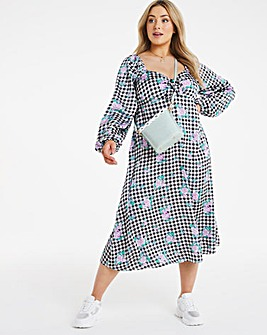 Gingham Knot Front Midi Dress