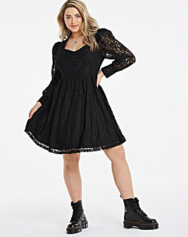 Black Lace Milkmaid Long Sleeve Skater Dress
