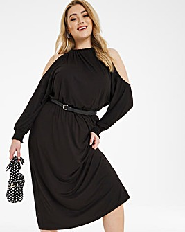 Cold Shoulder Soft Touch Midi Dress