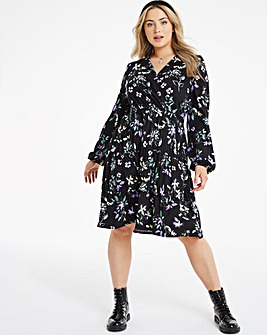 Tiered Wrap Front Skater Dress