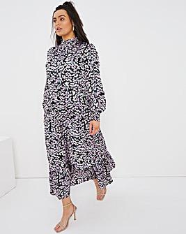 Daisy Print Tiered High Neck Maxi Dress