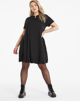 Black Supersoft Jersey Puff Ball Swing Dress