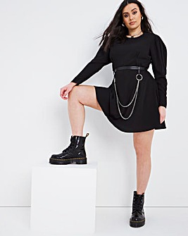 Black Exaggerated Sleeve Swing Dress