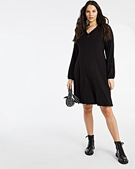 O Ring Jersey Ribbed Skater Dress