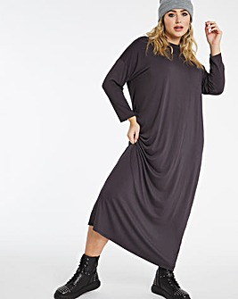 Charcoal Oversized Midi T-Shirt Dress