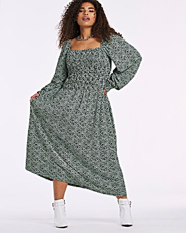Long Sleeve Shirred Square Neck Midi