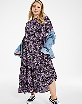 Soft Touch Tiered Midi Smock Dress