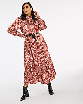 Animal Print Tiered High Neck Maxi Dress