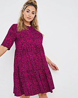 Pink Animal Supersoft Short Sleeve Tiered Smock Dress