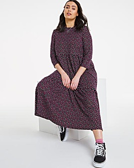 Soft Touch Jersey Spot Tiered Midi Dress with 3/4 Length Sleeves