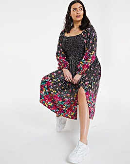 Border Print Shirred Midi Dress