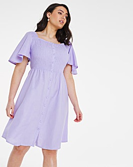Lilac Linen Angel Sleeve Shirred Skater
