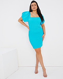Shirred Puff Sleeve Bodycon Dress