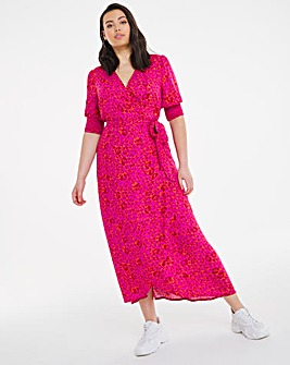 Crinkle Wrap Midi Dress
