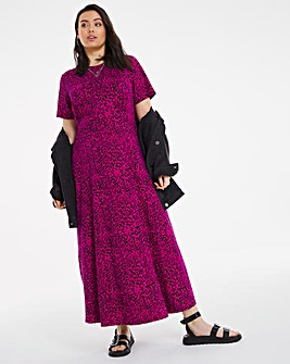Pink Animal Print Supersoft Short Sleeve Midi Dress