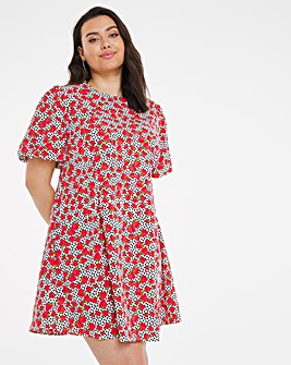 Fruit Print Ruched Sleeve Skater Dress