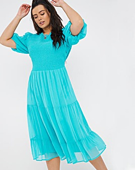 Aqua Blue Shirred Puff Sleeve Midi Dress