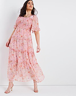Shirred Chiffon Tiered Maxi Dress
