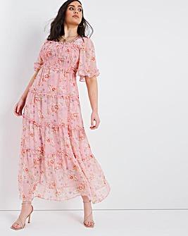 Shirred Chiffon Tiered Maxi Dress