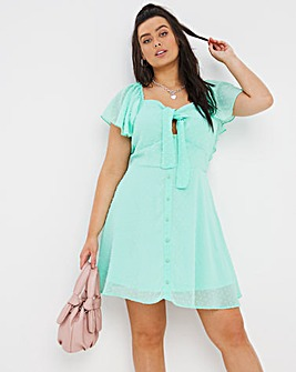 Mint Green Dobby Milkmaid Skater Dress