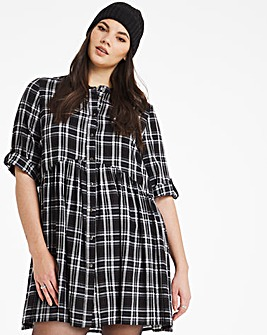 Mono Check Button Through Shirt Dress
