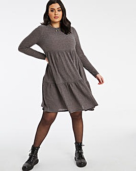 Grey Ribbed Tiered Smock Dress