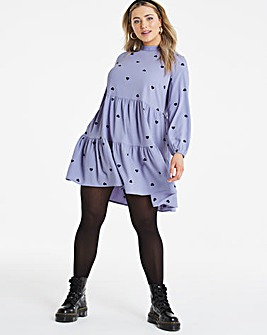 Heart Print Tiered Smock Dress