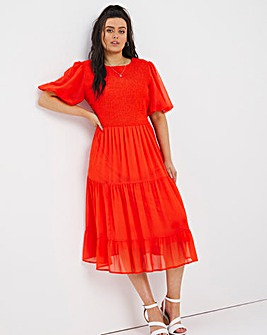 Shirred Puff Sleeve Midi Dress