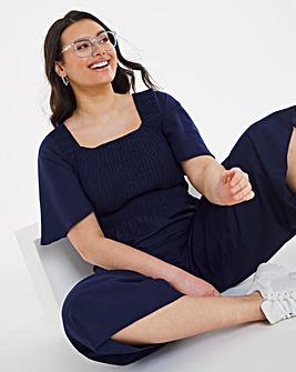 Shirred Linen Crop Jumpsuit