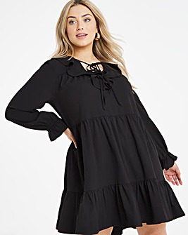 Ruffle V Neck Tiered Smock Dress