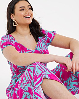 Tropical Print Shirred Slouchy Wide Leg Cropped Jumpsuit