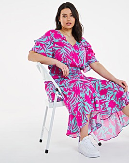 Tropical Print Shirred Waist Midi Dress