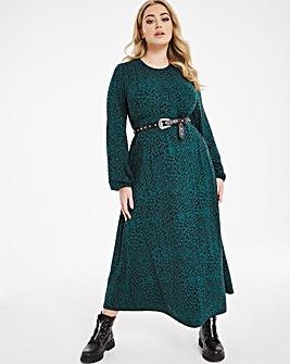 Green Animal Supersoft Jersey Midi Dress