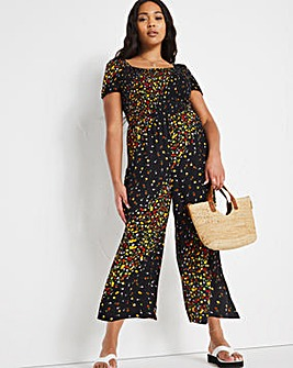 Shirred Cropped Jumpsuit