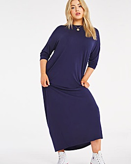 Navy Oversized Jersey Cocoon T-Shirt Dress