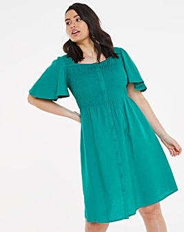 Green Linen Angel Sleeve Shirred Skater