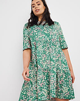 Green Floral Supersoft Short Sleeve Tiered Smock Dress