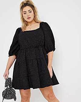 Black Textured Jersey Square Neck Smock Dress