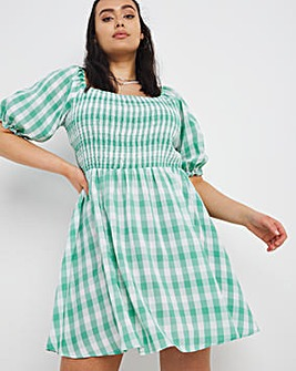 Green Gingham Smock Dress
