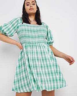 Green Gingham Smock Dress