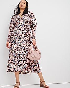 Animal Wrap Midi Dress with Shirred Cuff