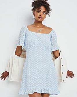 Baby Blue Broderie Square Neck Tea Dress