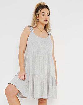 Grey Ribbed Smock Dress
