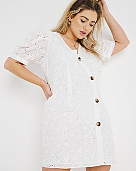 White Broderie Tea Dress