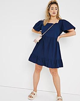Navy Poplin Smock Dress
