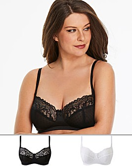 Pretty Secrets 2 Pack Eva Black/White Non Wired Bras