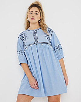 Embroidered Pom Pom Trim Chambray Smock Dress