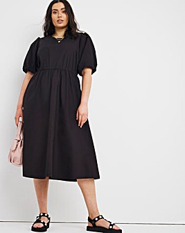 Black Cotton Poplin Midi Dress