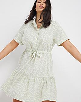 Sage Animal Smock Shirt Dress